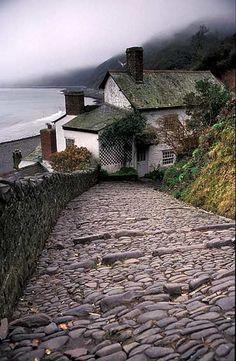 Clovelly, historic fishing village in North Devon, England UK - Seaside village (name?)