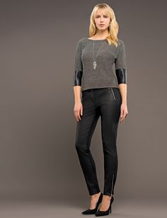 Coated trousers with leather look from our Robell Autumn/Winter 2015 collection