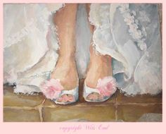 Custom Wedding dress or shoes canvas art painting made by 4WitsEnd, $125.00