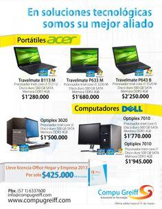 En Soluciones en tecnológicas somos su mejor aliando. #Portátiles  Acer desde $1.280.000 #Computadores  Dell desde $1.500.000  Contamos con las mejores formas de pago.