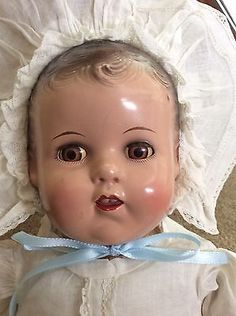 """16 """" ideal baby COMPOSITION & CLOTH DOLL old compo very nice condition."""
