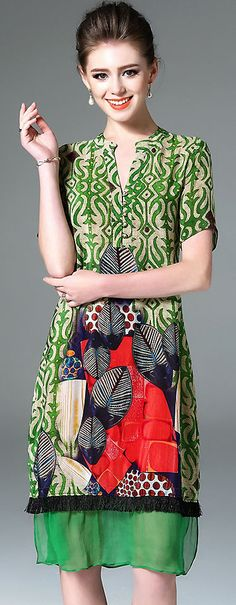 Fashion V-neck Short Sleeve Floral Print Silk Dress