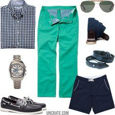 Bonobos Ging Crosby Shirt ($98). Bonobos Green & Tonics Chinos ($88). Monkey's Fist Woven Belt ($50). Sebago Docksides Shoes ($100). Psi Bands ($15). Vintage Omega Seamaster Watch ($3,900). Mosley Tribes Crane Sunglasses ($180). Bonobos Low Tides Board Shorts ($65)