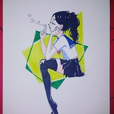 Used sakura koi watercolour brush markers!