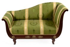19th-century French recamier upholstered in Old World Weavers silk moiré with applied bronze ornaments on frame.