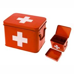 Present Time Red with White Cross Metal Medicine Storage Box Medium * Learn more by visiting the image link. Under Bed Storage, Storage Boxes, Storage Organization, Plastic Baskets, Metal Baskets, Wicker Baskets, Off The Grid, Kids Collection, Sustainable Living