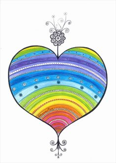 Rainbow Heart Original Drawing, Christmas art gift, Colorful Illustration, Wall and Home Decor, Colored pencils & black ink, https://www.etsy.com/listing/203832259/rainbow-heart-original-drawing-christmas?ref=shop_home_active_3