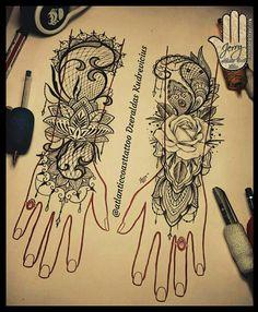 Lovely hand tattoo idea. Rose tattoo, lotus tattoo. Mandala tattoo, lace tattoo, finger tattoo ideas. By Dzeraldas Jerry Kudrevicius Atlantic coast tattoo. Four fingers artist.