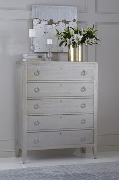 Dresser Top Decor, Dresser Styling, Tall Dresser, Vanity Decor, Cabinet Decor, Chest Dresser, Bedroom Chest Of Drawers, Bedroom Dressers, Rental House Decorating