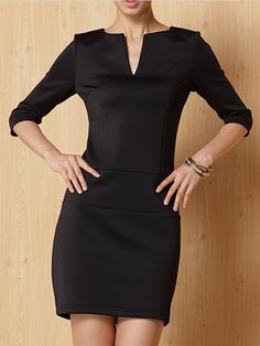 Love Love Love! Black A-Line Dress with Pockets! #Dress_for_Success #Black #Working_Woman #Fashion