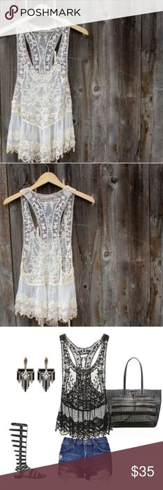 Luxe Lace Top, Lingerie, or Swim Cover Up ✨Gorgeous Cream Lace Crochet Bikini Cover Up  ✨More sizes available in white .. See other listing in my closet or inquire below🌟 ✨Please refer to measurements for the right fit ✨                                                                                  🌟Size A length approx. 26.37 Inches - Bust 33.86 Inches ✨ Tops