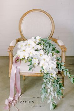 Best Bouquet Ever! Bridal bouquet with orchids, white, green, flowers, pink ribbon bouquet. wedding flowers