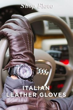 Shop our fine selection of men's gloves that are handmade in Italy from buttery soft Nappa leather. Our Italian leather gloves are cashmere lined to keep you warm and look great. Mens Brown Leather Gloves, Leather Work Gloves, Leather Driving Gloves, Mens Gloves, Leather Men, Leather Wallet, Leather Pieces, Leather Working, Italian Leather