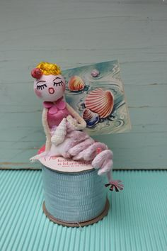 Vintage Style Spun Head - Pink Mermaid with Vintage Shell Card