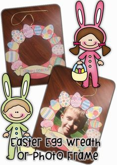 Easter Egg Wreath and Photo Frame with Free printable Clever Classroom