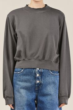 Relaxed fit, cropped french terry cotton sweatshirt with raw edges. Cotton Made in USA Kim is wearing a size S. Kim is a US 2 in dresses & bottoms, a 26 in denim and S in tops. Cotton Citizen, Crew Sweatshirts, French Terry, Milan, Denim, Grey, Sweaters, How To Wear, Collection