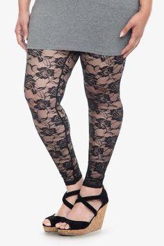 Torrid Plus Size Black Rose Lace Leggings