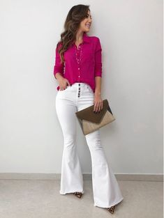 Camisa ml sabrina pink moda casual en 2019 Formal Looks, Casual Looks, White Pants Outfit, Stylish Outfits, Fashion Outfits, Office Outfits Women, Stylish Tops, Diva Fashion, Casual Chic