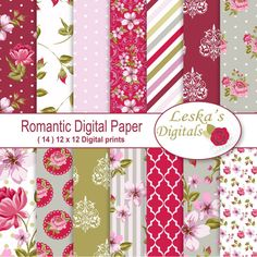 Shabby Chic Digital Paper: Floral scrapbook background, romantic papers with roses, damask for wedding invites, cards