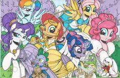 #936672 - alice in wonderland, alicorn, applejack, artist:ponygoddess, crossover, disney, enchanted, female, fluttershy, hercules, mane seven, mane six, mare, obtrusive watermark, pinkie pie, pony, rainbow dash, rarity, safe, spike, tarzan, tinkerbell, toy story, traditional art, twilight sparkle, twilight sparkle (alicorn) - Derpibooru - My Little Pony: Friendship is Magic Imageboard