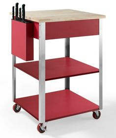 Crosley - Crosley Furniture Culinary Prep Kitchen Cart in Red - Kitchen Islands and Kitchen Carts Rolling Kitchen Cart, Kitchen Storage Cart, Kitchen Island Cart, Kitchen Islands, Kitchen Carts, Pantry Storage, Garage Storage, Essential Kitchen Tools, Butcher Block Top