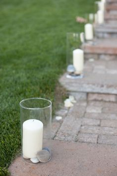 for hurricane vases...as entry way to reception