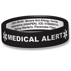 Divoti Deep Custom Laser Engraved Silicone Sport Medical Alert ID Bracelet Lightweight//Simple//Easy//Comfortable-Black w//Free Engraving BW 6.7