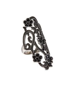Loving this Austrian Crystal & Black Flower Filigree Ring on #zulily! #zulilyfinds