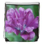 Purple parrot tulip drawstring backpack