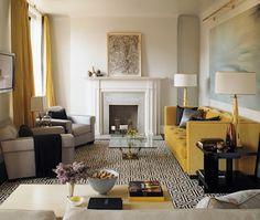 Gold Coast Apartment Living Contemporary by Steven Gambrel My Living Room, Home And Living, Living Spaces, Small Living, Living Area, Contemporary Living, Yellow Couch, Urban Loft, Gambrel