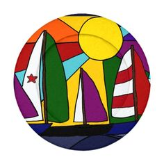 Colorful Sailboats in the Sun Button Covers