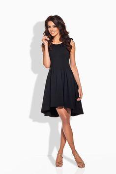 Stylish Black Dipped Hem Coctail Dress LAVELIQ (Made in Poland)