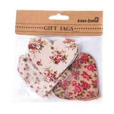 Add the perfect finishing touches to your gift wrapping with these charming heart shaped Vintage Rose Gift Tags from Sass & Belle. Pack of 15 vintage rose printed heart shaped gift tags. In 3 different vintage floral prints in cream and pink shades. Metal eyelet and natural jute string tie. Tag size - approx 7 x 7 cm. Vintage Rose Heart Gift Tags - Sass & Belle from Mollie & Fred UK