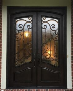 Our iron doors are built one at a time and are custom designed specifically for you and your project. Any door can be made square top, round top or arched in a square top frame. We always produce a… Brown Front Doors, Double Front Entry Doors, Exterior Front Doors, Entrance Doors, Double Door Design, Front Door Design, House Front Door, Glass Front Door, Beautiful Front Doors