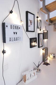 Flur dekorieren / kleiner Flur / Lichterkette / Illustrationen Hase Reh