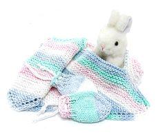 baby pullover bib set pastel rainbow blue pink green white bib set wash cloth & no scratch newborn mitts baby - pinned by pin4etsy.com