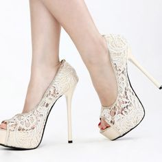 Sexy and Fashion Round peep Toe Stiletto Super High White Lace Pumps