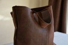 Brown bag sakabukuro Japanese worn antique and by EthicalLifeStore