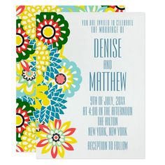 x Exotic Daisy Wedding invite - flowers floral flower design unique style Invitation Card Design, Wedding Invitation Templates, Custom Invitations, Invite, Botanical Wedding Invitations, Country Wedding Invitations, Daisy Wedding, Wedding Sets, Retro Gifts