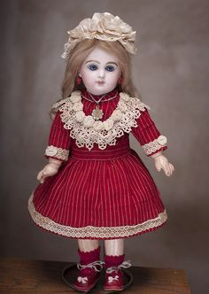 """13"""" (33 cm) Antique French Bisque Bebe with Beautiful Blue Eyes by from respectfulbear on Ruby Lane"""