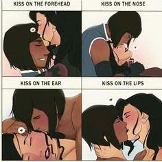 Korra Avatar, Team Avatar, Sasameki Koto, Kiss Meme, Avatar Series, Forehead Kisses, Yuri Anime, Korrasami, Lesbian Love