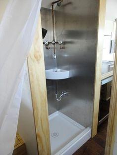 Metal lined gypsy wagon bathroom