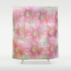 Pink daisies on a pastel background. Shower Curtain