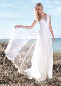 Gorgeous Lace & Silk Like Chiffon Scoop Neckline A-line Wedding Dresses