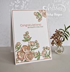 To give this blossom a special touch, for a wedding or mother's day card, add layers of petals to some of the flowers and finish with tiny pearls! - Vicky Hayes