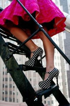 polka dot shoes - Fashion with stripes polka dots and pom poms - myLusciousLife.com.jpg