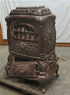 Buck's Porcelain Stove Parlor Heater Cast Iron Wood Morning Pot Belly Vintage