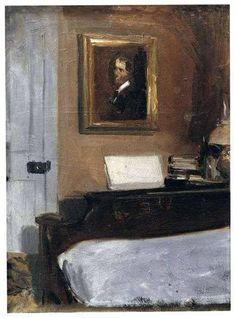 Edward Hopper, El dormitorio del artista, 1905-6, Óleo sobre tabla, 38,3 x 28,1 cm, Whitney Museum of American Art, Nueva York, EEUU