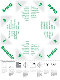 Remember cootie catchers? Here's a Girl Scout themed one, fun idea for a troop meeting