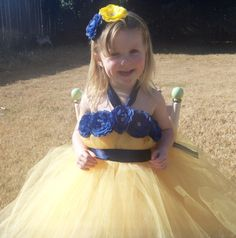 Landreths yellow and navy blue flower girl tutu dress by bTUTUcute, $45.00 @Leslee Marie